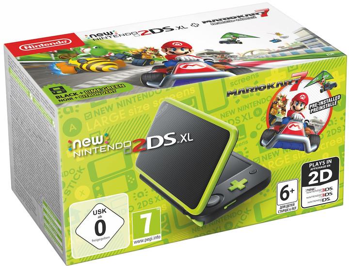 Nintendo New 2DS XL, černá/zelená + Mario Kart 7