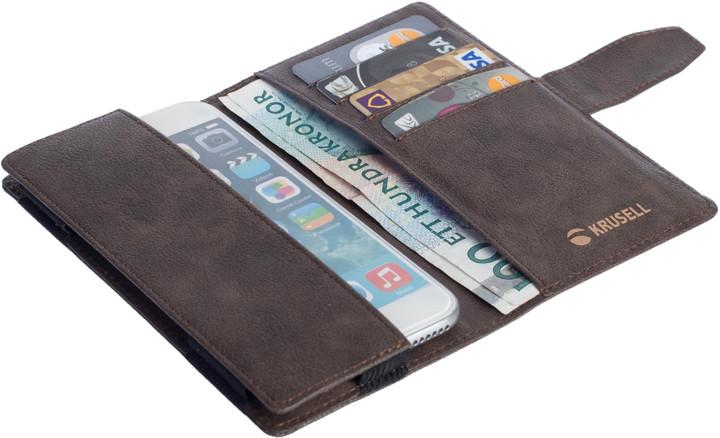 Krusell univerzální knížkové pouzdro vargon peněženka 3XL, hnědá