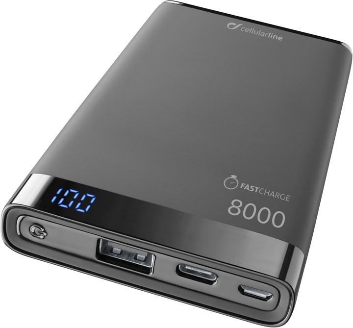 CellularLine powerbanka FREEPOWER MANTA S 8000mAh, USB-C + USB port, černá