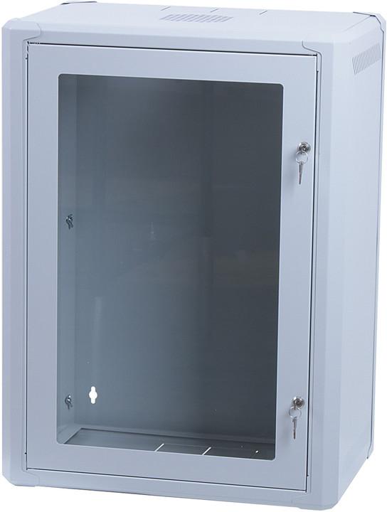 """Masterlan 19"""" nástěnný, 15U, 600x400mm, rozložený FLAT PACK, skleněné dveře, zatížení 60kg, šedá"""