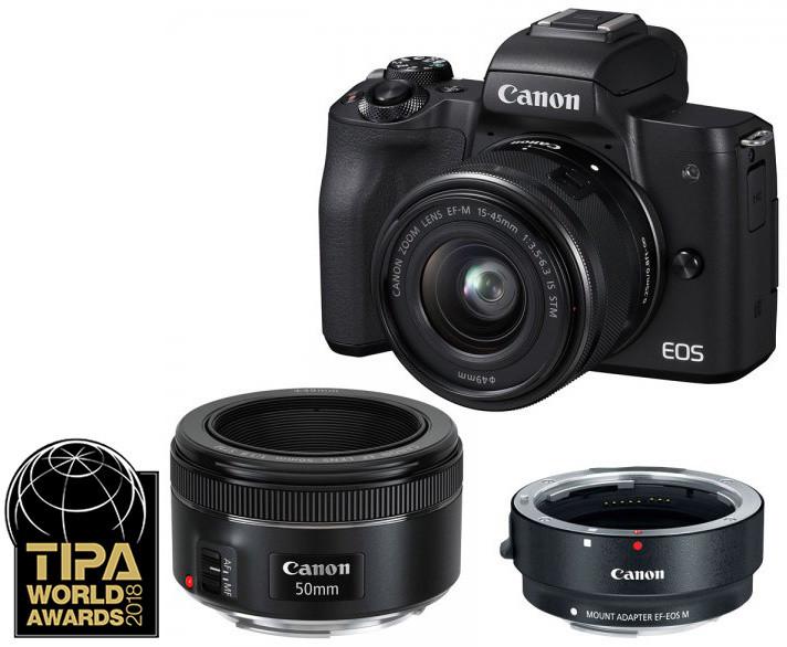 Canon EOS M50, černá + EF-M 15-45mm IS STM + EF 50mm 1.8STM + EF-EOS M adapter