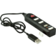 YENKEE USB hub YHB 4002BK, 4x USB-A 2.0, černá