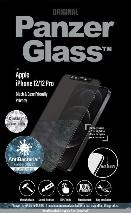 PanzerGlass ochranné sklo Edge-to-Edge pro iPhone 12/12 Pro, antibakteriální, Privacy, Swarowski CamSlider, černá