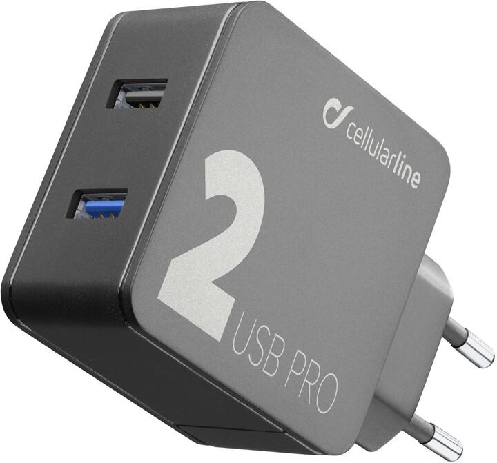 CellularLine síťová nabíječka Multipower 2 PRO, 2 x USB port, černá
