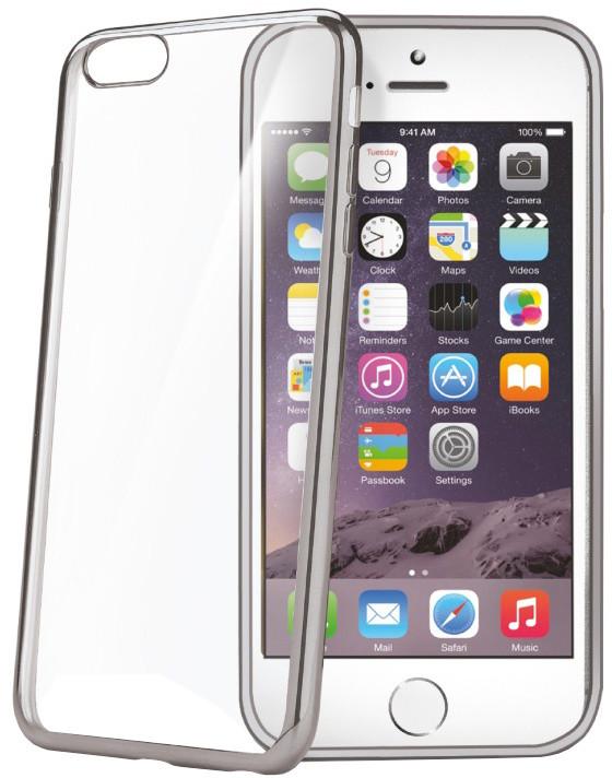 CELLY Laser, lemování s kovovým efektem pouzdro pro Apple iPhone 6/6S, stříbrná