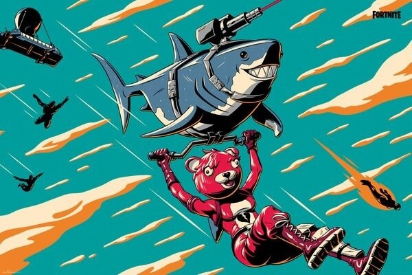 Plakát Fortnite - Laser Shark