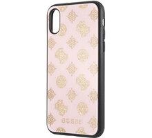 Guess pouzdro Layer Glitter Peony pro iPhone X/XS, světle růžová 2444377