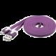 PremiumCord kabel micro USB 2.0, A-B 2m, plochý PVC kabel, fialová