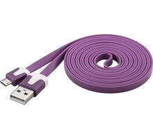 PremiumCord kabel micro USB 2.0, A-B 2m, plochý PVC kabel, fialová - ku2m2fp3