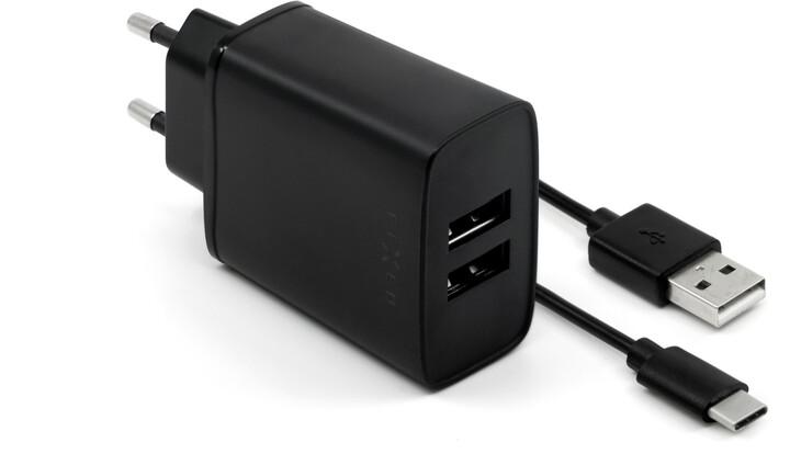 FIXED síťová nabíječka, 2xUSB, Smart Rapid Charge, 15W + kabel USB-C, 1m, černá