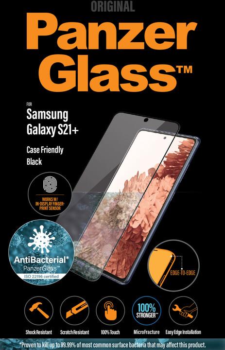 PanzerGlass ochranné sklo Edge-to-Edge pro Samsung Galaxy S21+, antibakteriální, FingerPrint Ready, černá
