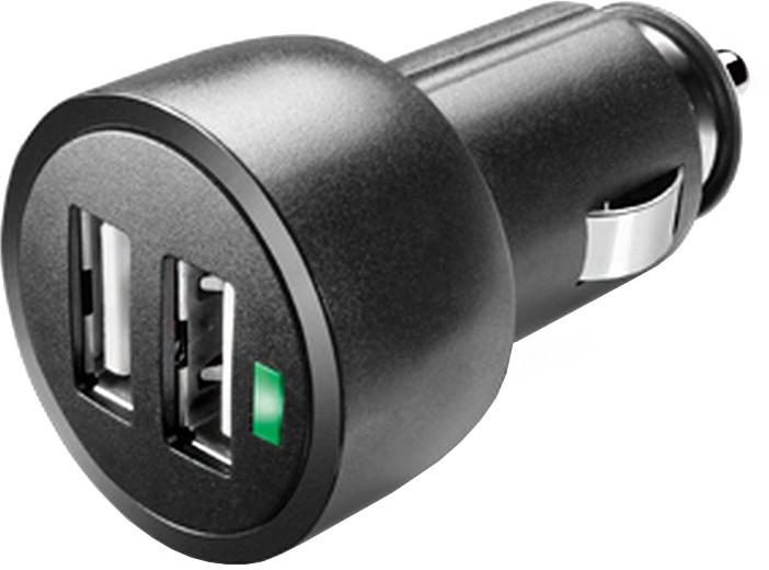 CellularLine autonabíječka miniaturní s konektory 2 x USB, 3,1A, černá