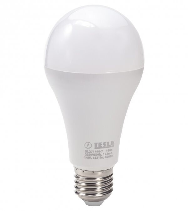 TESLA LED žárovka BULB E27, 14W, 4000K, denní bílá