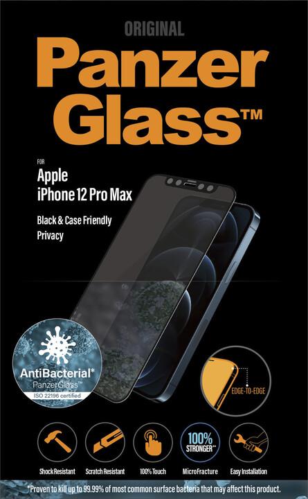 """PanzerGlass ochranné sklo Edge-to-Edge Privacy pro Apple iPhone 12 Pro Max 6.7"""", 0.4mm, černá antibakteriální"""