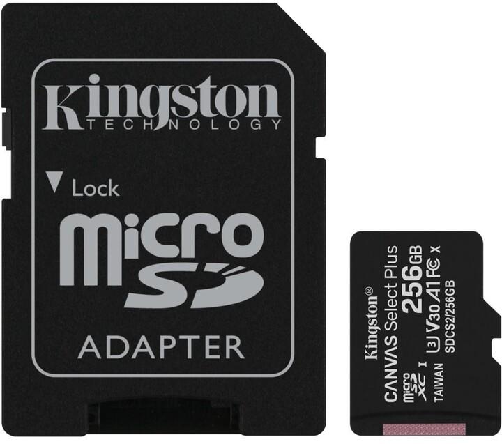 Kingston Micro SDXC Canvas Select Plus 100R 256GB 100MB/s UHS-I + adaptér