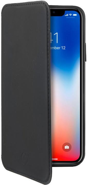 CELLY Prestige pouzdro typu kniha pro Apple iPhone X, PU kůže, černé