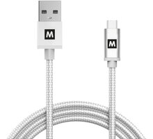 MAX MUC2100S kabel micro USB 2.0 opletený, 1m, stříbrná