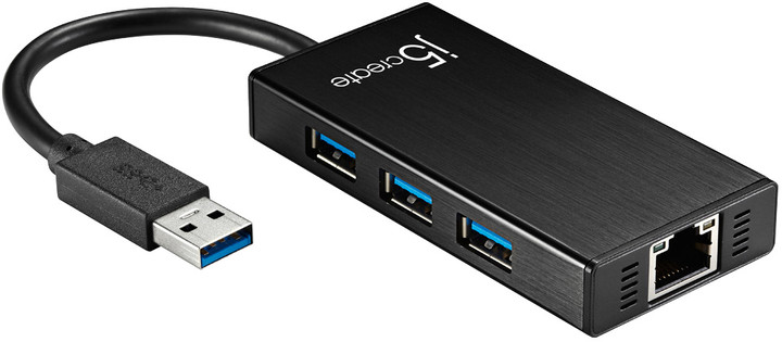 J5CREATE adapter USB3.0 na Gigabit Ethernet/3-port Hub (Windows/Mac) JUH470