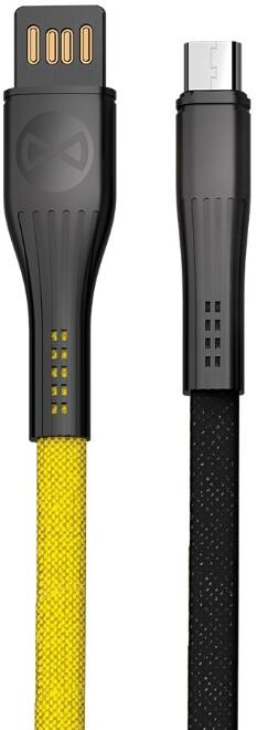 Forever CORE datový kabel micro USB, 3A, 1m, plochý textilní, žlutá/černá