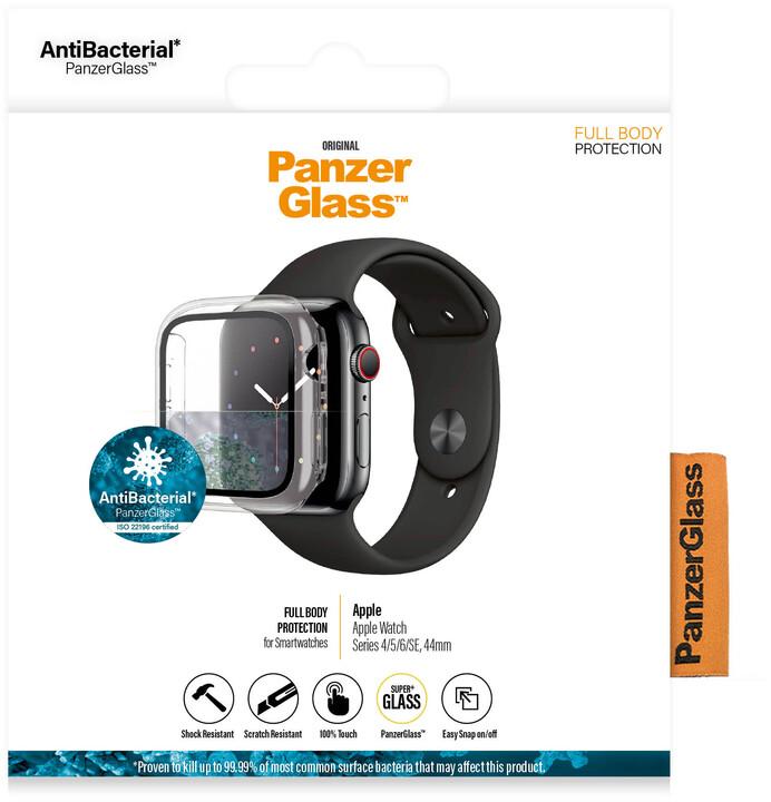 PanzerGlass ochrana obrazovky pro Apple Watch 4/5/6/SE, 44mm, Full Body, černý rám