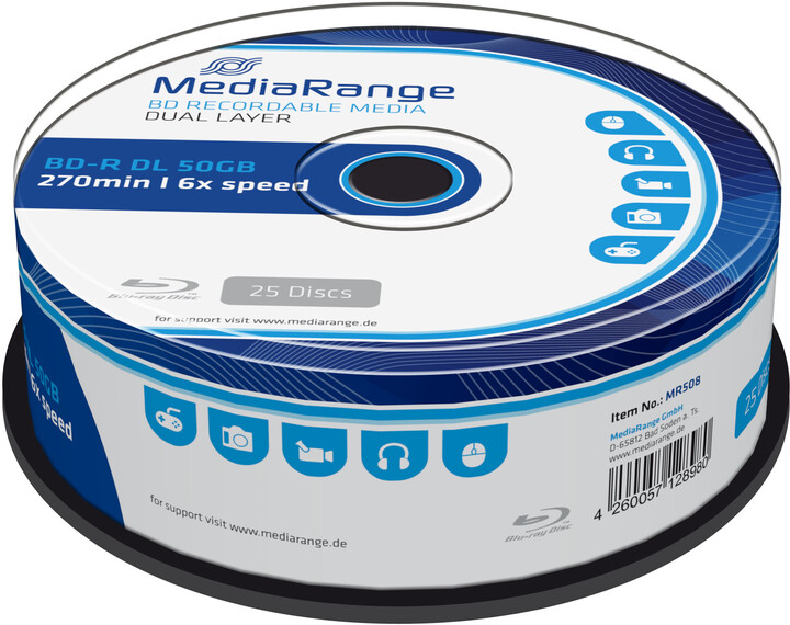MediaRange BD-R DL, 6x, 50GB, 25ks, Spindle
