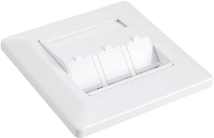 Solarix zásuvka modulární pro 3 keystony pod omítku bílá SX9-3-0-WH