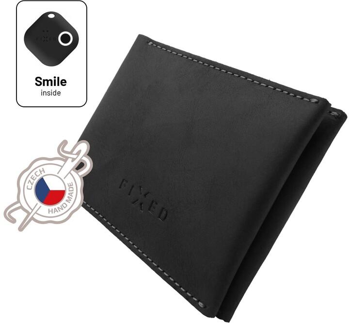 FIXED peněženka Smile Wallet se smart trackerem, kožená, černá