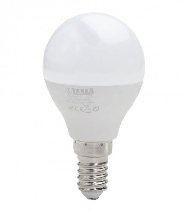 TESLA LED žárovka miniglobe BULB, E14, 3W, 4000K, denní bílá