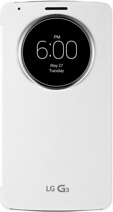 LG QUICKCIRCLE flipové pouzdro pro LG G3, bílá