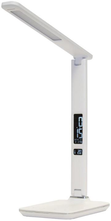 IMMAX LED stolní lampička Kingfisher - 3 různé barvy světla/ sklápěcí rameno/ USB/ bílá