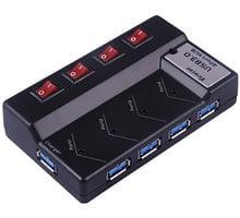 PremiumCord USB 3.0 Superspeed HUB 4-portový s napájením, vypínačem portu