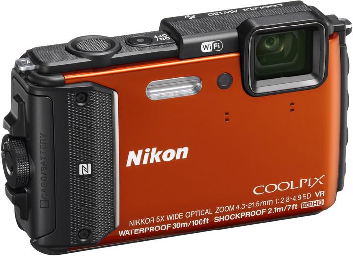 Nikon Coolpix AW130, oranžová