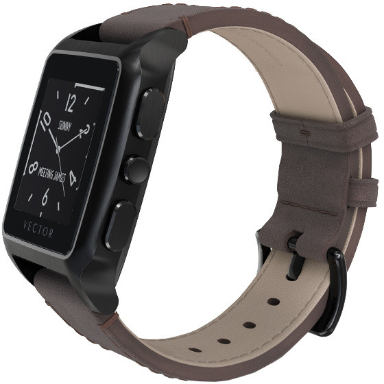 Vector SmartWatch Meridian-Brushed Black/Dark Brown Leather/Sml Fit