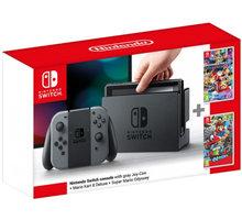 Nintendo Switch, šedá + Mario Kart 8 + Super Mario Odyssey NSH035