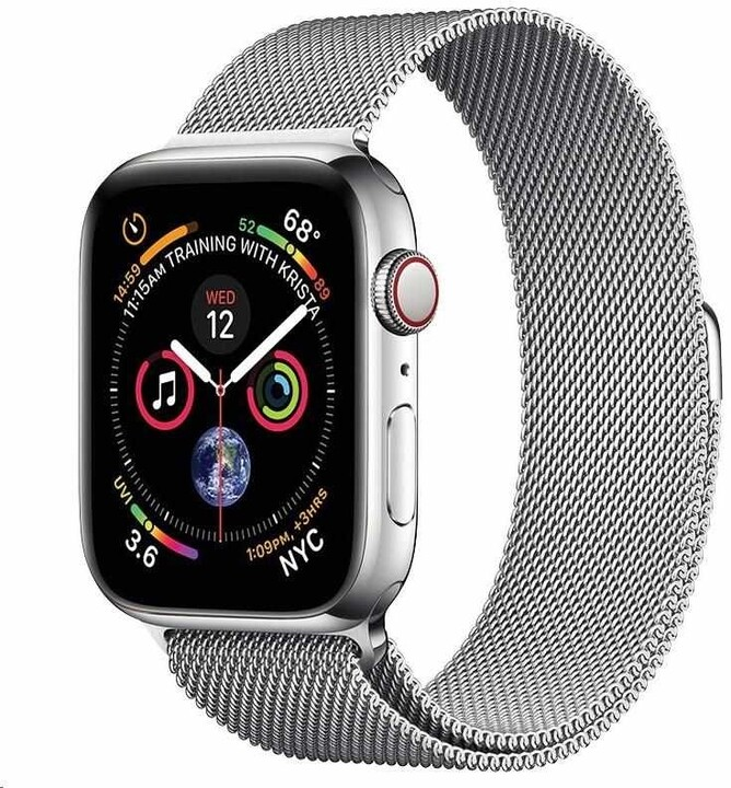 COTEetCI ocelový řemínek pro Apple Watch, magnetický, 42/44/45 mm, stříbrná