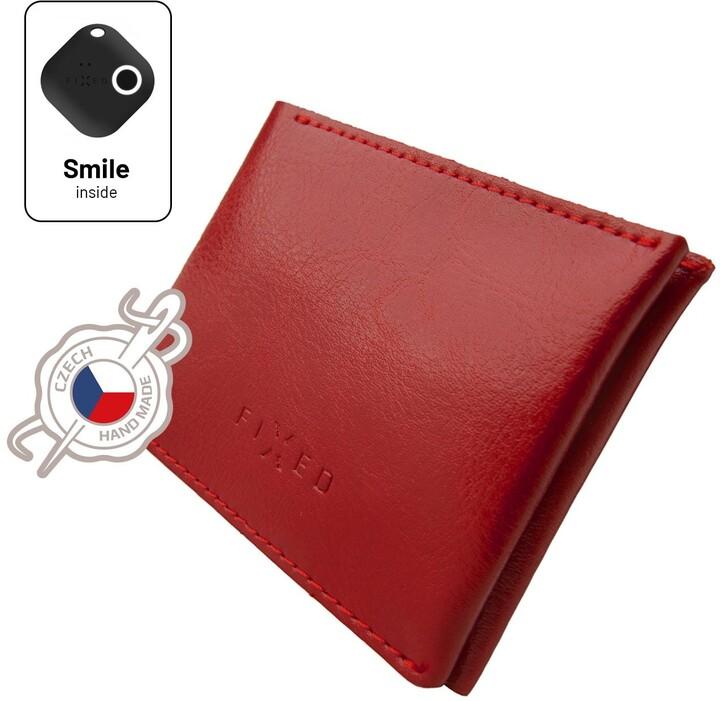FIXED peněženka Smile Wallet se smart trackerem, kožená, červená