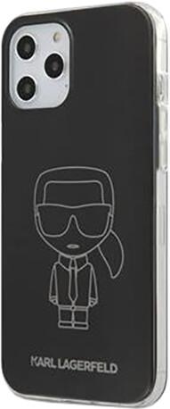 "KARL LAGERFELD ochranný kryt Metallic Iconic Outline pro iPhone 12/ 12 Pro (6.1""), TPU, černá"