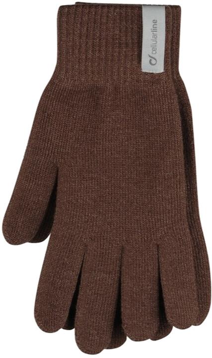 CellularLine Touch Gloves zimní rukavice na dotykové displeje, XL, hnědá