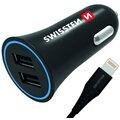 SWISSTEN autonabíječka 2,4A Power s 2x USB + kabel lightning