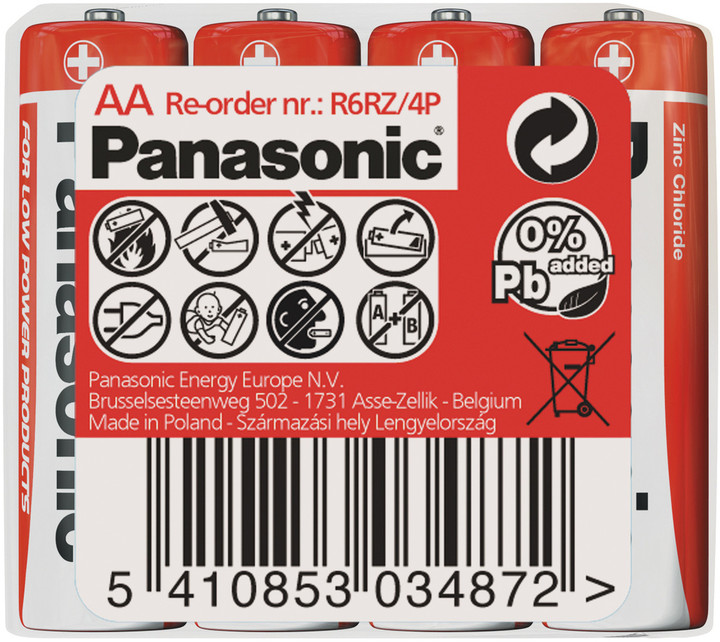 Panasonic baterie R6 4S AA Red zn