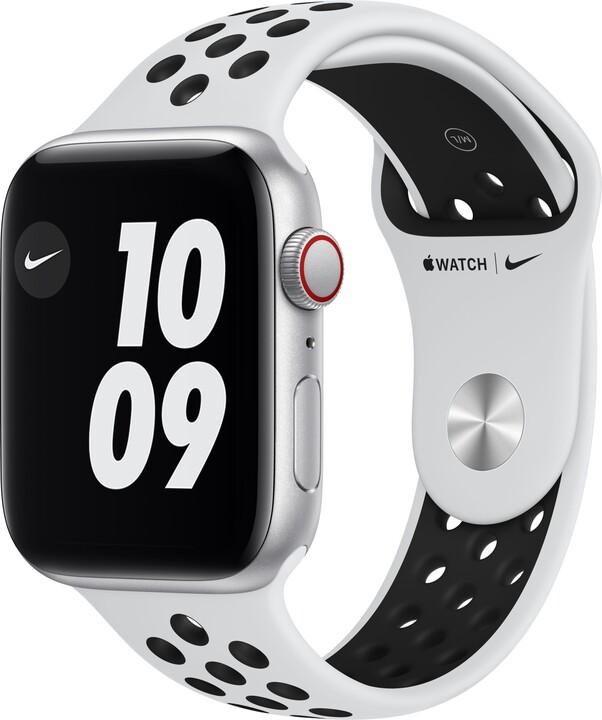 Apple Watch Nike SE Cellular, 44mm, Silver, Pure Platinum/Black Nike Sport Band