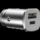 Baseus autonabíječka Square Metal A+C 30W PPS (PD3.0 QC4.0+SCP AFC), stříbrná