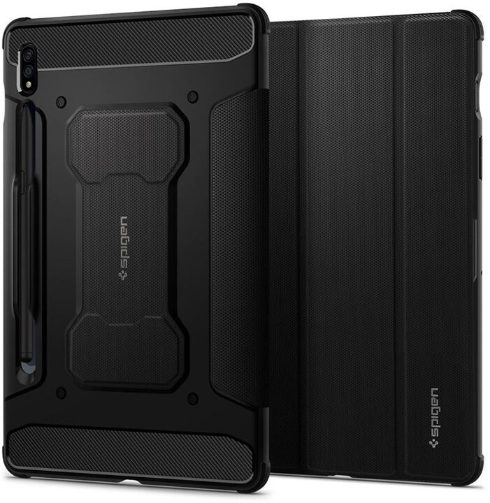 Spigen ochranný kryt Rugged Armor pro Samsung Galaxy Tab S7, černá