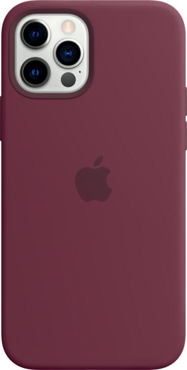 Apple silikonový kryt s MagSafe pro iPhone 12/12 Pro, vínová