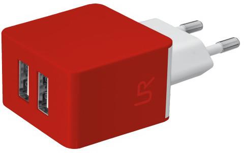 Trust USB nabíječka 5W, 2xUSB 1A, červená