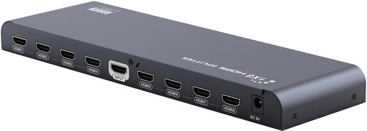 PremiumCord HDMI 2.0 splitter 1-8 porty, 4K x 2K/60Hz, FULL HD, 3D, černý