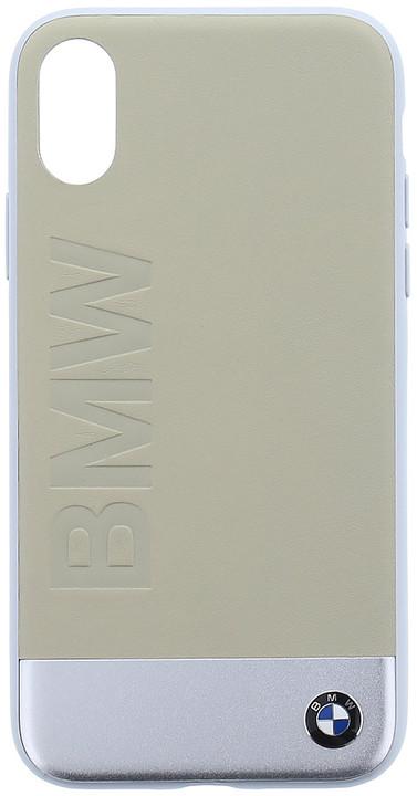 BMW Soft kožený zadní kryt pro iPhone X, béžový