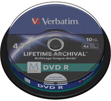 Verbatim DVDR 4,7GB, M-Disc, 4x, Printable, 10 ks, Spindle - 43824