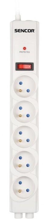 Sencor přepěťová ochrana, 5 zásuvek, bílá