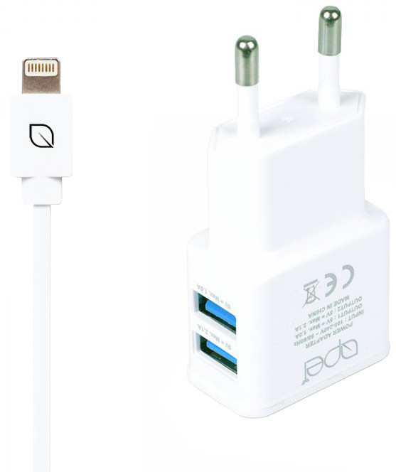 Apei Fast Charge 2x USB adapter + 1x Lightning kabel